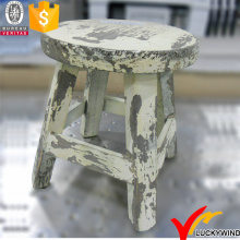 Yellowish Shabby Chic Round Seat Wooden Mini Stool
