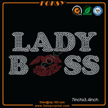 Lady Boss Lip rhinestone shirt transfers
