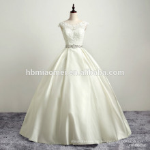 Braut Hochzeit Backless Kleid Satin Spitze Vintage appliziert Strass Kleid Hochzeit mit rosa Schärpe