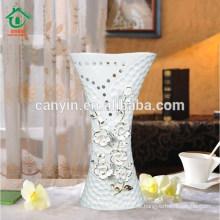 2015 Atacado flor grande óssea China Vaso Decorativo com Ouro