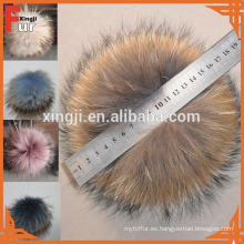 Pompón de piel de mapache de color de alta calidad