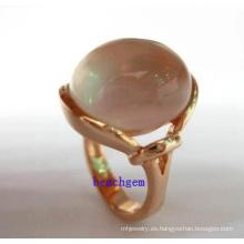 Anillos de joyería de plata cuarzo rosa de moda (GR0023)