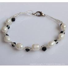 Bracelet en perles d'eau douce naturelle au riz (EB1510-1)
