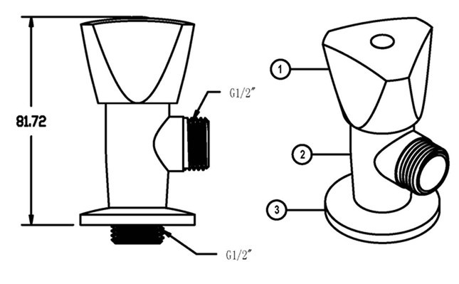 803-drawing and angle valve's construction