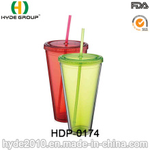 Customized Double Wall Plastic Tumbler, Ice Juice Water Bottle (HDP-0174)