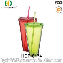 Tumbler plástico personalizado da parede dobro, garrafa de água do suco do gelo (HDP-0174)