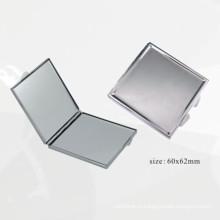 Квадратное серебряное металлическое компактное зеркало (BOX-45)