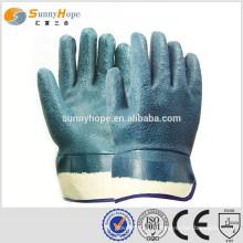 Manchette de sécurité gants de palme trempés de sable bleu nitirle