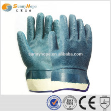 safety cuff blue sandy palm coated work gloves