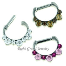 Stainless Steel CZ Stone Non Piercing Nose Ring Fake Nose Ring Faux Septum Ring
