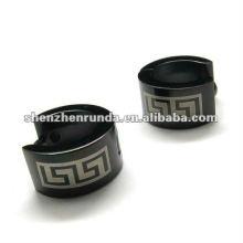 2012 new design black cuff style 316L S.Steel earrings for men