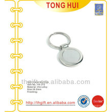Silve coin blank logo metal keychains/keyrings