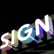 Letra da matriz do PONTO do diodo emissor de luz, quadro de avisos de aço inoxidável da exposição de diodo emissor de luz da propaganda