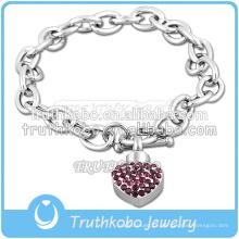 Estilo Popular De Aço Inoxidável Roxo Speckle Coração Charm Bracelet Com Jóias Urna De Cristal Da Lembrança