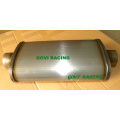 5′′x11′′ Car Truck Rear Round Exhaust Pipe Tail Muffler Oval with 409 Stainless Steel Unpolished Turbo