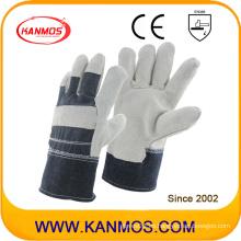 Gris cuero completo de vaca de vaca cuero de trabajo de trabajo de seguridad guantes (11005)