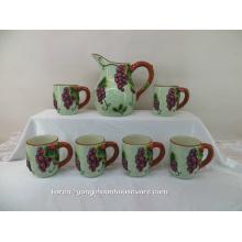 Peinture à la main Pichet en céramique avec les tasses