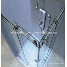 Sistema de puerta de ducha de vidrio corredizo de acero inoxidable sin marco de 90 grados