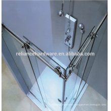 90 degree Frameless Stainless Steel Sliding Glass Shower Door System