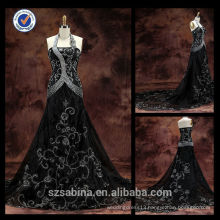 E0124Embroidery wholesale halter neck elegant black evening dress pron cheap long evening dress for fat women