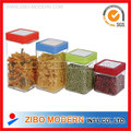 4 PC Square Glass Food Use Storage Jars with Airtight Plastic Lid