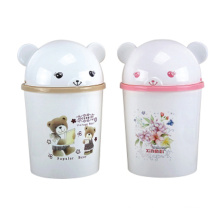 Cute Cartoon Design Flip-on Plastic Waste Bin (A11-2008)