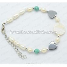 """Bracelet à perles coeur à l'hématite magnétique 7.25 """""""