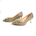 China GuangDong factory wholesale high quality customized middle gold metal heel glitter Bridal pump shoes for women