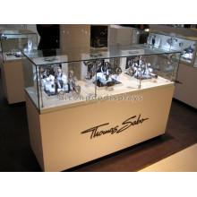 Jóias de qualidade Watch Shop Led Iluminação Base de madeira de vidro Relógios de ouro Gabinete de exibição de jóias