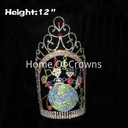 12in Height Large Unique Custom Pageant Crowns With One Globle Themed