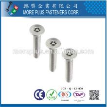 Hecho en Taiwán Acero inoxidable 18-8 Tornillo Torx de cabeza avellanada M4 personalizado para tornillo de seguridad móvil