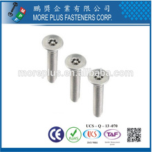 Feito em Taiwan Stainless Steel 18-8 Personalizado M4 Countersunk Head Torx Screw para Mobile Security Screw