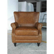 Tobacco Color Leather Chair, Cigar Club Chair, Hotel Chair (A888)