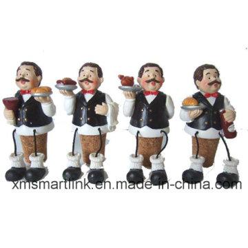 Poly Resin Waiter Decoration Wine Stopper, Bottle Stopper Gifts