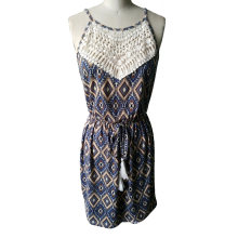 Summer Hot Sales Strap Lace Geometry Pattern Ladies Dress
