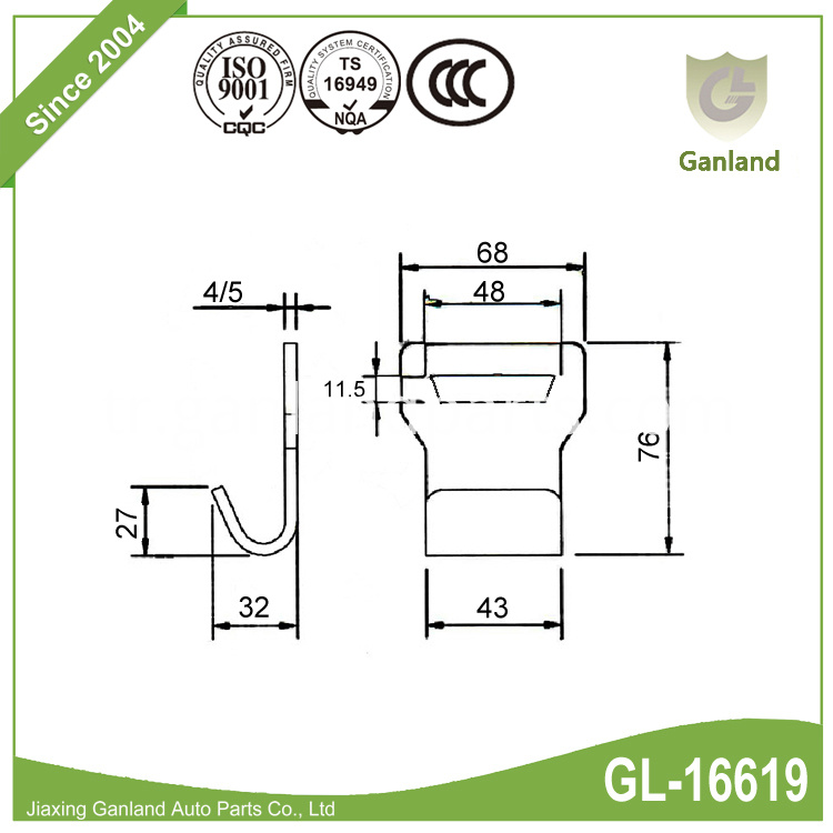 Metal Flat Hook GL-16619
