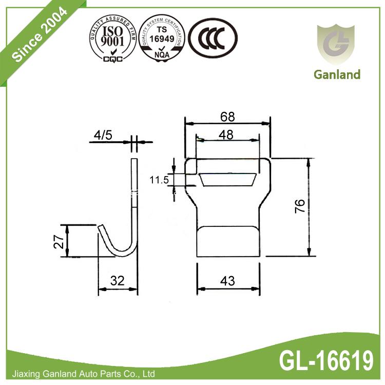 Metal Flat Hook GL-16619
