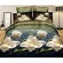 3D Reactive Printed Flower Design Custom Printed Bed Sheet Bedding Set