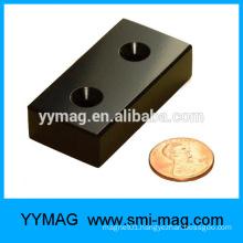 Black epoxy neodymium block magnet with Countersunk hole