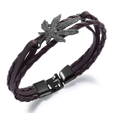 Womens jalinan kulit daun maple gelang