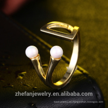fabricante china joyería de oro concha perla diseño anillo de latón