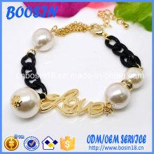 Bracelet chaîne fantaisie gravé sur mesure avec motif perle