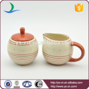 2 sets factory red and yellow ceramic canister wholesale with milk pot and sugar bowl