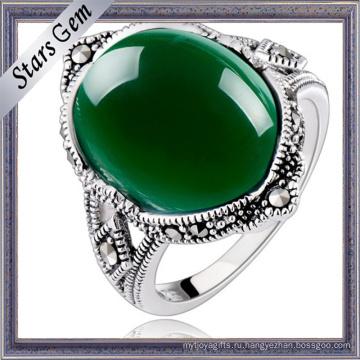 Лучшие Топ-ранга глубокий зеленый Агат кольцо настройки