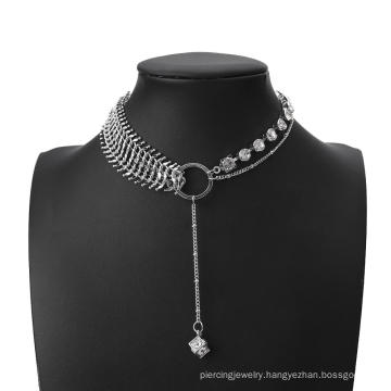 2020 New Fashion Chain Choker Layered Necklace Punk Hiphop Fishbone Silver Color Necklace Collar Crystal Chain Jewelry