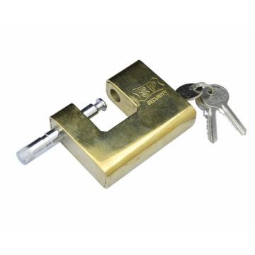 Candado de acero, cerradura rectangular de oro, candado de acero dorado