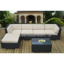 6-Piece Beige Outdoor Patio Wicker Sofa Set