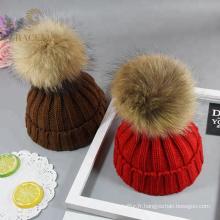 Accepté OEM mignonne chaud chapeau de laine rouge / marron womens