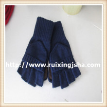 men's pure color knitted cut finger flap gloves