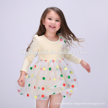 Hot selling summer new model cotton girl dress colorful dot printed girl daily wear dress